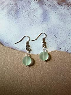 Free Shipping Maine Coke Bottle Color Sea Glass Recycled Glass Earrings