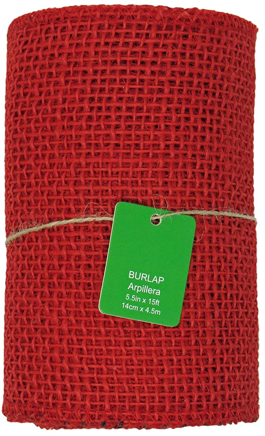 5.5 Inches Wide 15 Feet Long Woven Fabric Burlap Craft Ribbon Roll - Red