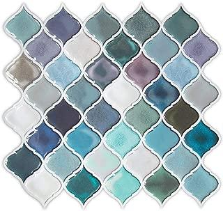 Teal Arabesque Peel and Stick Tile for Kitchen Backsplash,Decorative Backsplash Peel and Stick,Stick on Tiles for Backsplash,Smart Tiles Peel and Stick Backsplashes (5 Sheets)