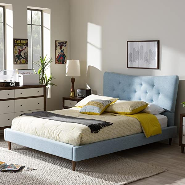 Baxton Studio Hannah Platform Bed In Sky Blue Queen 93 78 In L X 66 3 In W X 45 44 In H