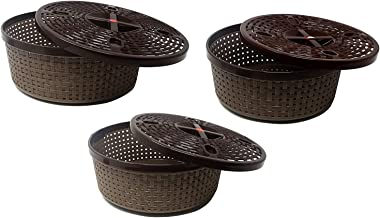 SONICKARTS (Set of 3) Plastic Tapered Nakoda Hollow Galaxy Round Basket Woven Storage Box/Organizer/bin/Basket with lid and H