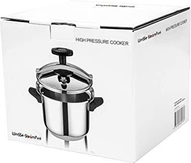Wmsse-Steampunk Classic Stainless Steel Pressure Cooker, (22-4.2 Quart=4 litres) with Steamer (All Cookers Including Inductio