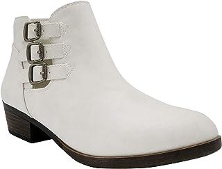 Sugar Women's Tikki Dress Block Heel Ankle Boot Ladies Side Zip Bootie with Triple Buckle Over Open Ankle White 8.5