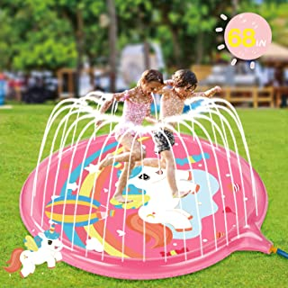 Soopotay Splash Play Mat for Girls, Sprinkler Pad for Kids Toddlers Backyard Outdoor Play-Unicorn, Pink
