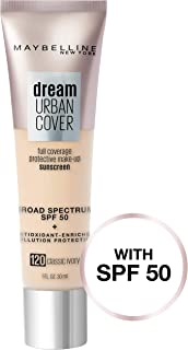 Maybelline New York Dream Urban Cover Flawless Coverage Protective Makeup, Liquid Foundation, Sunscreen, with Broad Spectrum SPF 50 & Antioxidant-Enriched Pollution Protection, Classic Ivory, 1 fl. oz