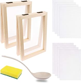 12 PCS Paper Making Kit - 5 x 7 Inch Wooden Paper Making Mould Frame Paper Making Screen Papermaking Mould with Spoon & Re...