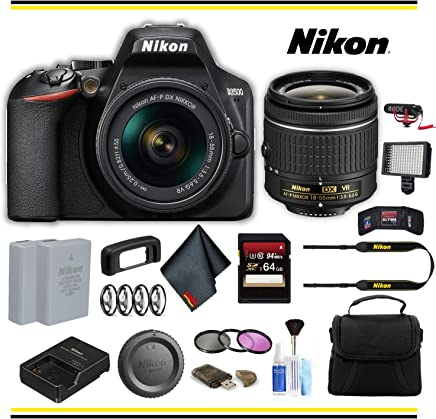 $525 Get Nikon D3500 DSLR Camera with 18-55mm Lens (1590) Advanced Bundle W/Bag, Extra Battery, LED Light, Mic, Filters and More