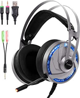Gaming Headset Microphone Cosbary HK101 for Ps4 Xbox One PC Switch Mac Stereo Gaming ps4 Headphone Surround Sound Fully Over Ear Wrapped Noise-Cancel with Microphone Controller RGB led Light