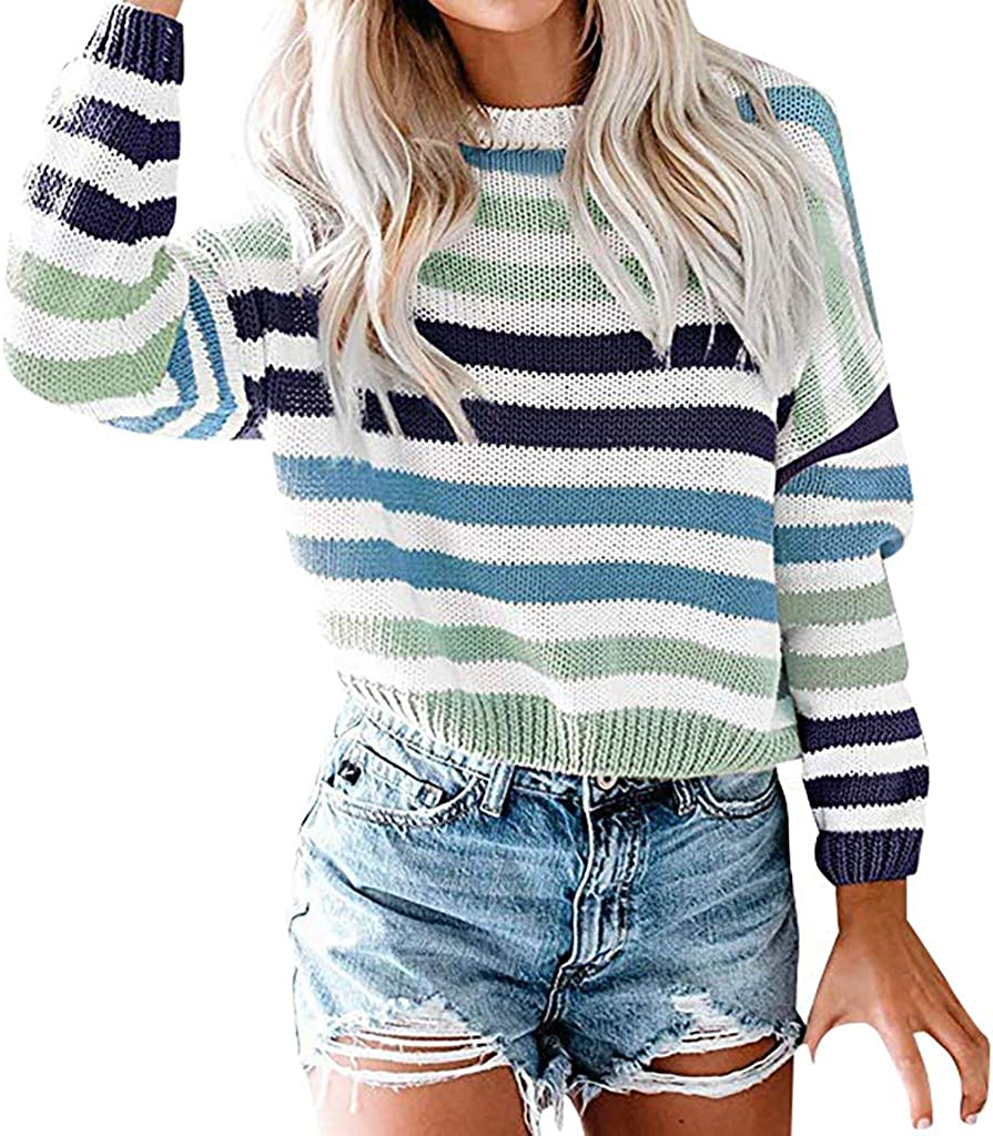 Hoodies Outerwear Sweatshirt Coat Women O-Neck Striped Color Block Sweater Knitwear Patchwork Pullover Tops