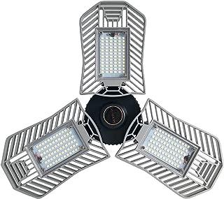 80W LED Garage Light, Deformable Led Tri-Light Garage Ceiling Light Fixture, Low & High Bay LED Light Bulbs with 8000LM 6000K for Shops, Basement,Home Indoor Lighting (300W-400W Equiv.)