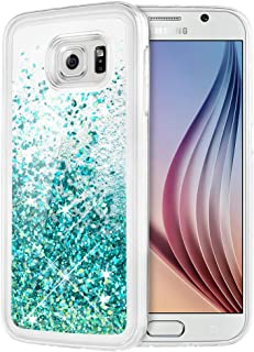 Caka Galaxy S6 Case, Galaxy S6 Glitter Case Liquid Series Luxury Fashion Bling Flowing Liquid Floating Sparkle Glitter Girly Soft TPU Clear Case for Samsung Galaxy S6 (Teal)