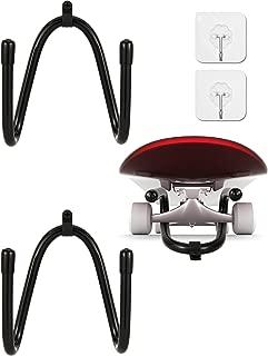 Chuangdi 2 Sets Skateboard Wall Hanger Wall Mount Skateboard Storage Display Rack with Transparent Adhesive Hooks