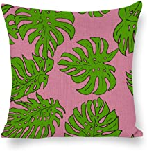 Decorative Pillow Covers Bright Green Leaves Pattern Throw Pillow Case Cushion Cover Home Office Decor,Square 18 X 18 Inches
