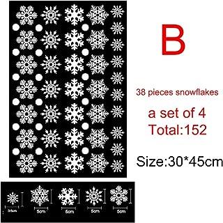 Yalatan Etiquetas engomadas de la etiqueta estática de los copos de nieve blanca para Navidad, ambiente de festival Sin pegamento Adhesivos de ventana estáticos autoadhesivos