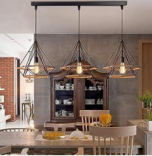 Lustre Suspension Industrielle Design 3 Lampes Diamant Chanvre Corde Métal LED Luminaire Plafonnier Abat-Jour Rétro Design...