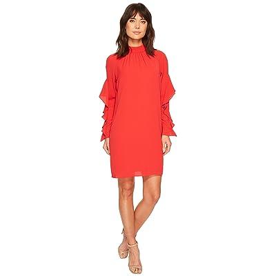 Maggy London Catalina Crepe Ruffle Dress (Pomegranate) Women