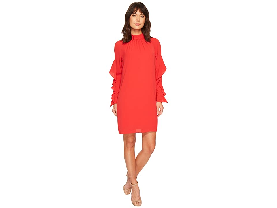 e5b12c34f69 Maggy London Catalina Crepe Ruffle Dress (Pomegranate) Women