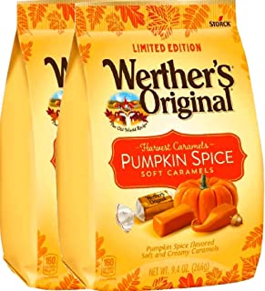 NEW Werther's Original Limited Edition Halloween Pumpkin Spice/Caramel Apple Soft Caramels - 9.4oz (Pumpkin Spice, 2)