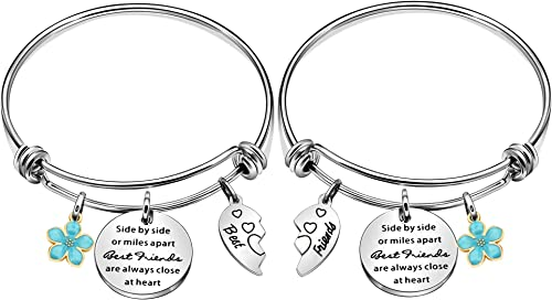 Maxforever 2Pcs Friendship Gifts Best Friends Forever Charm Bangle Bracelet, Birthday Anniversary for Bestie