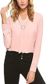 iClosam Women Casual Bow Tie Chiffon V-Neck Cuffed Sleeve Blouse Tops