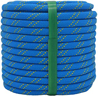"YUZENET Braided Polyester Arborist Rigging Rope (3/8"" X 100') Strong Pulling Rope for Climbing Sailing Gardening Swings,Bl..."