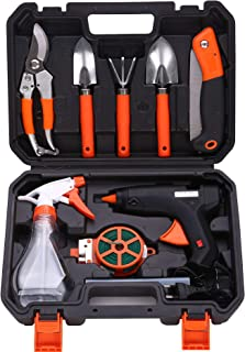 Gluckluz Garden Tool Set 10PCS Gardening Tool Kit Outdoor Hand Tools with Non-slip Rubber Grip Including Stainless Steel P...