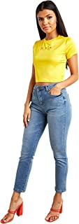 Embroidered Flower Detail Fitted Crop T-shirt For Women's Yellow Closet by Styli
