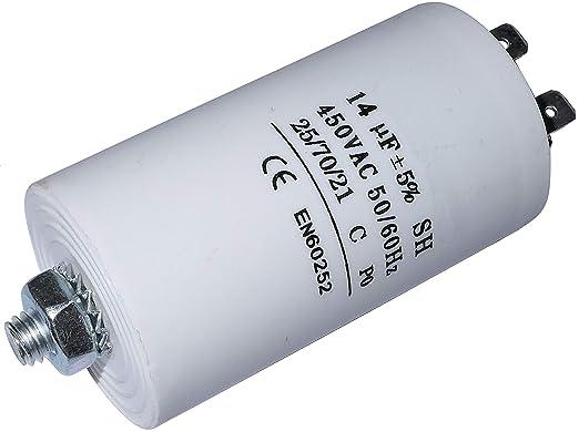 Aerzetix C10201 Betriebskondensator Für Motor 14µf 425v Ø36 70mm Mit 4 Flachsteckanschlüsse M8 Kunststoffkörper Zylindrischer Weiß Gewerbe Industrie Wissenschaft