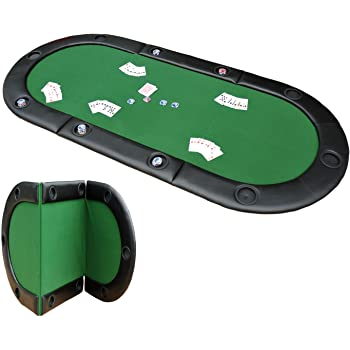 HOMCOM 200cmx90cm/79 x36 Classic 3 Folding Poker Table Foldable Poker Top 10 Seater Players Blackjack Table with Drink Holders Carry Bag