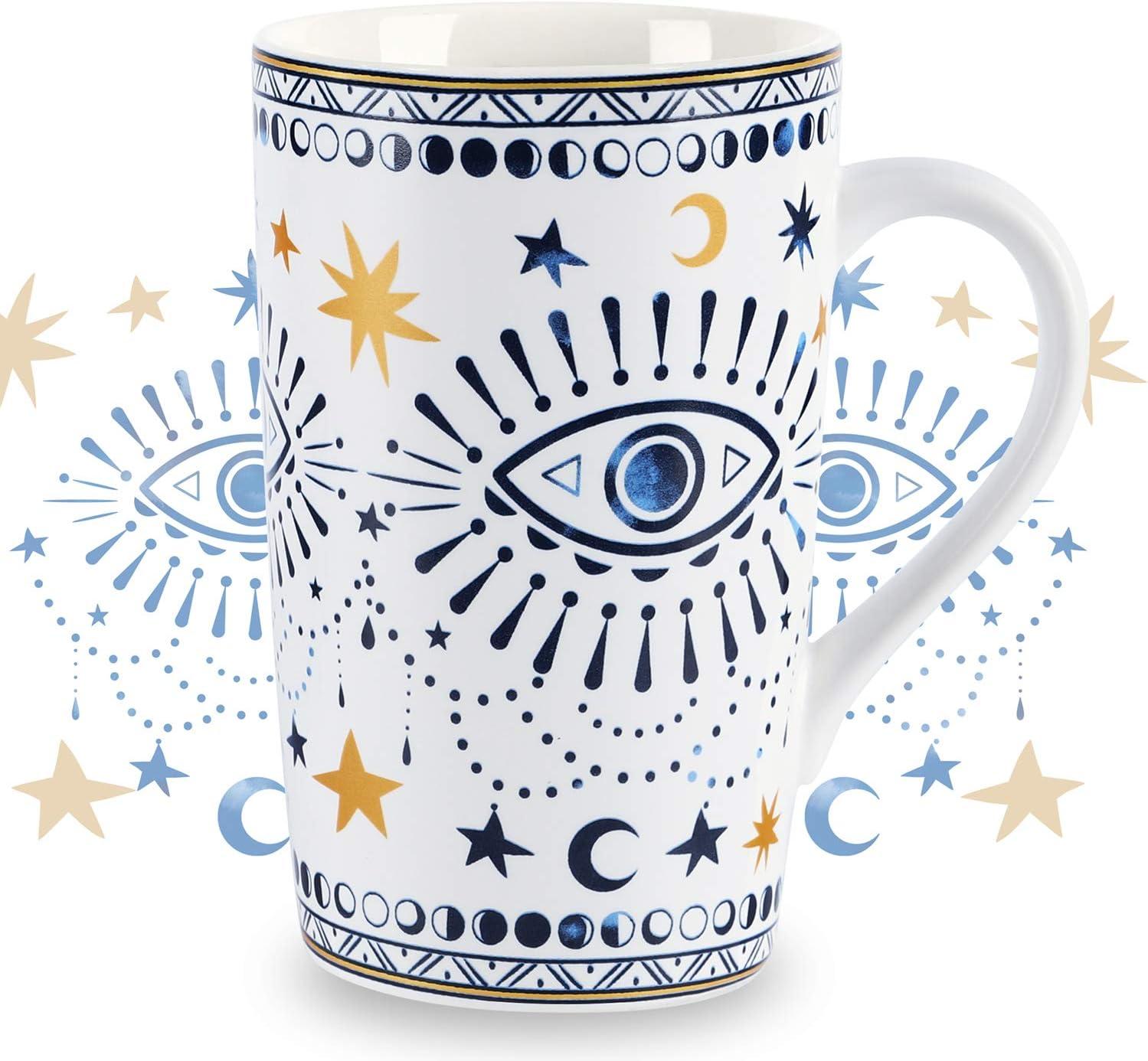 Nymphfable 18oz Tazas Café De CeráMica Personalizadas Ojos Boho Taza Con Tapa Taza Te Grandes Patrón de Horneado