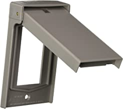 Leviton 4998-GY 1-Gang Decora Wallplate Cover, Weather-Resistant, Thermoplastic, Device Mount, Vertical Self Closing Lid, ...