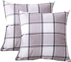 QCTIANXIA Check Throw Pillow Covers 18x18- Cotton Line Plaid Cushion Cover Holiday Decorative Throw Pillows for Couch, Bed, Sofa, Pack of 2,18x18 (Khaki, 18x18)