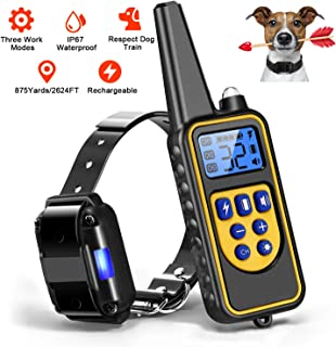 Moclever Dog Training Collars, Upgraded Dog Shock Collar with Remote 2624FT, Pet Trainer Collars for Dog IP67 Waterproof, Rechargeable w/Beep, 99 Levels Vibration Shock Modes for Small, Medium, Large