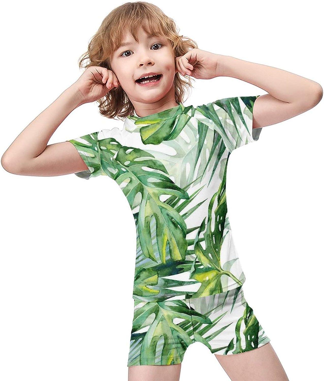 Plant Boys Two Piece Swimsuits Kids Short Sleeve Sunsuit UPF 50+ Swimwear Sets
