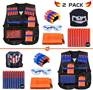 Expower Tactical Vest Kit, 2 Pack Nerf Vest Set Compatible with Nerf Guns N-Strike Elite Series with Nerf Bullets, Reload Clips, Tactical Mask, Wrist Band and Protective Glasses