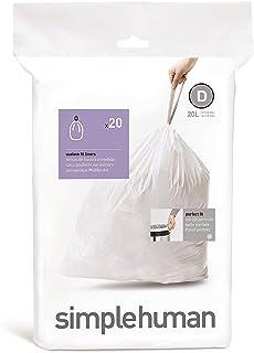 Simplehuman Code D 20L Custom Fit Bin Liners, White, CW0163