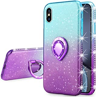 VEGO Case Compatible with iPhone Xs iPhone X, Glitter Gradient Case for Girls Women Fancy Cute Fashion Sparkling Bling Rhinestone with Kickstand Ring Holder for iPhone X iPhone Xs(Teal Purple)