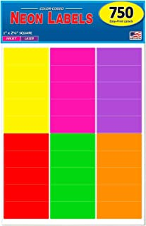 Pack of 750, 1 x 2-5/8 Inch Multi-Color Mailing Address Labels for Laser and Inkjet Printers, Rectangle, Assorted Neon Fluorescent Colors, 1 x 2.625 in.