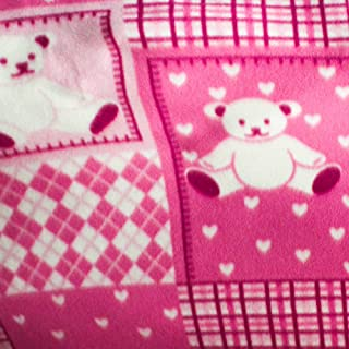"Teddy Bear Fuchsia Blocks Anti Pill Animal Theme Fleece Fabric, 60"" Inches Wide – Sold By The Yard (FB)"