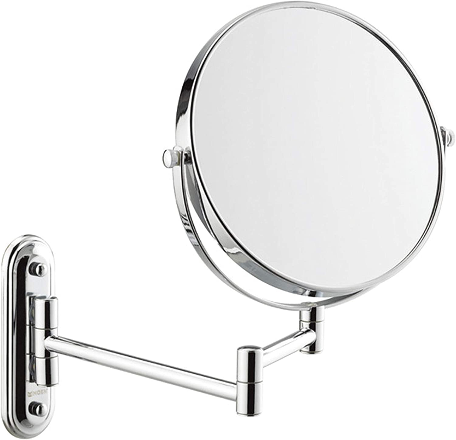 Punch Free Makeup Mirror Fold Telescopic Beauty Mirror Bathroom Dressing Mirror Double Sided Magnifier Pendant Move Round Mirror,6inch
