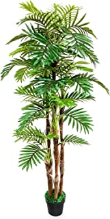 TUSY-6.5 ft Golden Cane Palm Silk Tree,Artificial Trees for Indoor Outdoor Decoration Office or Home Décor