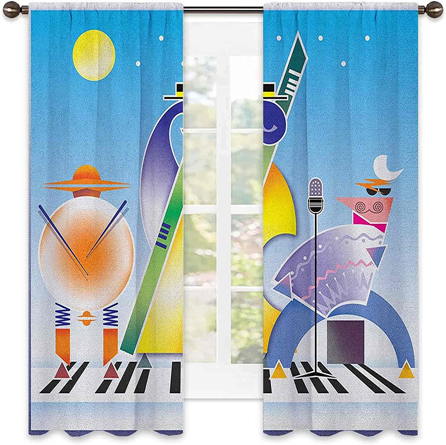 Music Heat Insulation Curtain Abstract of Quality inspection Geometric Max 70% OFF Band Shapes