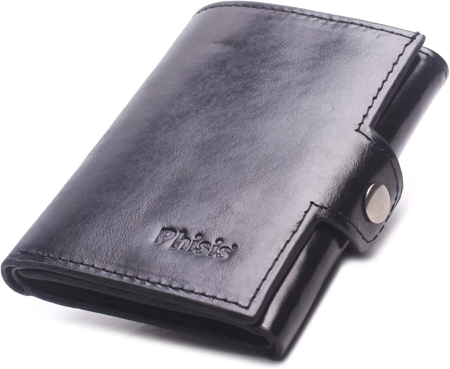 Trifold Wallet for Men, Mens Slim Wallet Genuine Leather Front Pocket Minimalist RFID Blocking Wallets with Coin Purse ID Window and 11 Credit Card Holder with Gift Box (Black)