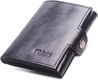 Trifold Wallet for Men, Mens Slim Wallet Genuine Leather Front Pocket Minimalist RFID Blocking Wallets with Coin Purse ID ...