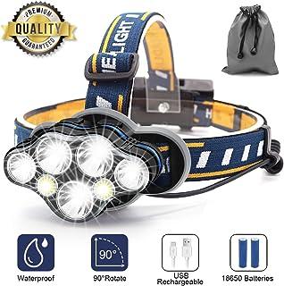 Linterna Frontal LED, USB Recargable Linternas Frontales, Linterna LED para Camping, Pesca, Correr,Caza,Deportes Nocturnos