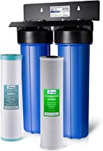 "iSpring WGB22BM 2-Stage Whole House Water Filtration System w/ 20"" x 4.5"" Big Blue Carbon Block and Iron & Manganese Reducing Filters"