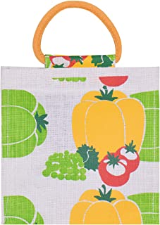 Jute Cottage Men's and Women's Jute Capsicum Printed Grocery Carry Tiffin Bag with Zip for Lunch (White)