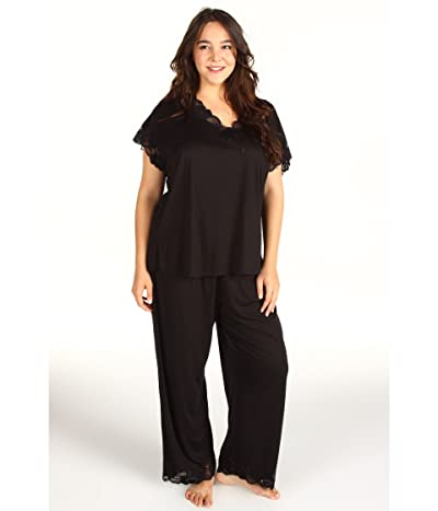 Natori Plus Size Zen Floral PJ Set (Black) Women