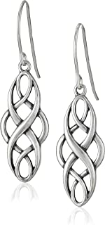 Sterling Silver Celtic Design Oval Dangle Earrings