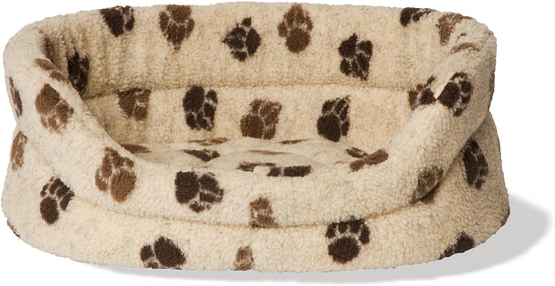 Danish Design, Fleece Beige Brown Paw Slumber Bed 24  24   61cm